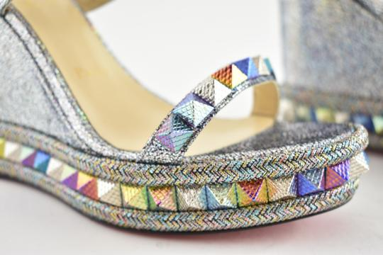 Christian Louboutin Pigalle Stiletto Classic Galeria Studded silver Wedges Image 3