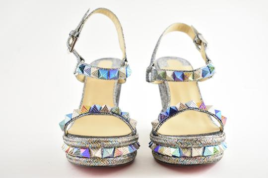 Christian Louboutin Pigalle Stiletto Classic Galeria Studded silver Wedges Image 4
