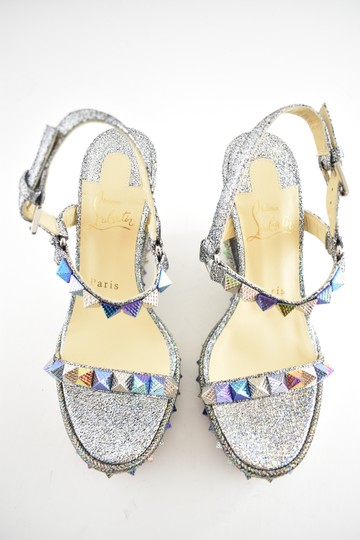Christian Louboutin Pigalle Stiletto Classic Galeria Studded silver Wedges Image 6
