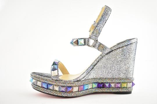 Christian Louboutin Pigalle Stiletto Classic Galeria Studded silver Wedges Image 7