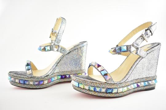 Christian Louboutin Pigalle Stiletto Classic Galeria Studded silver Wedges Image 8