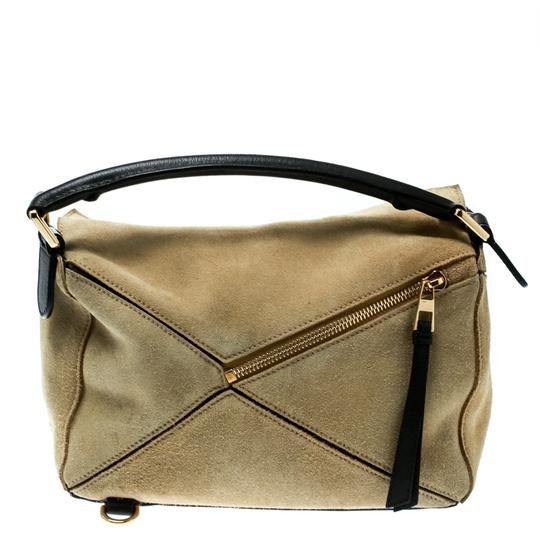 Loewe Suede Canvas Leather Tote in Beige Image 1