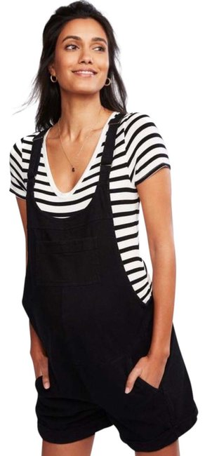 Item - Black and White Overall Striped Ruched T Shirt Maternity Bottoms Size 6 (S)