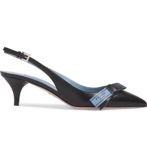 Prada Fashion Slingback Heels Classic Bow Black Blue Pumps Image 1
