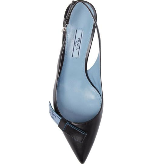Prada Fashion Slingback Heels Classic Bow Black Blue Pumps Image 4