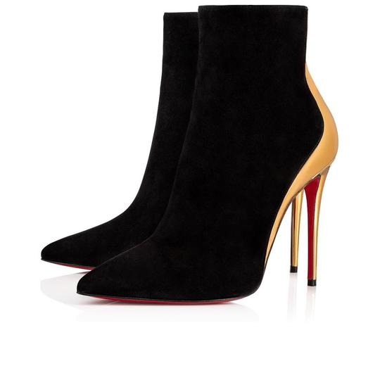 Preload https://img-static.tradesy.com/item/25921718/christian-louboutin-black-delicotte-100-suede-gold-leather-ankle-heel-stiletto-pump-bootsbooties-siz-0-0-540-540.jpg