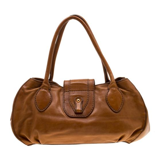 Tod's Leather Fabric Satchel in Brown Image 1
