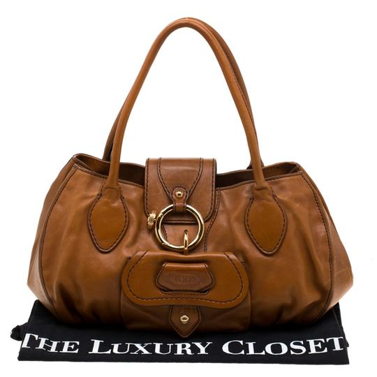 Tod's Leather Fabric Satchel in Brown Image 10