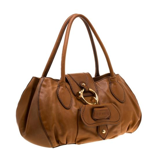 Tod's Leather Fabric Satchel in Brown Image 4