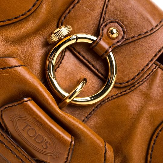 Tod's Leather Fabric Satchel in Brown Image 8