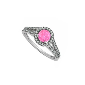 Marco B Natural Conflict Free Diamonds and Pink Sapphire Halo Split Shank