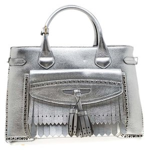 Burberry Leather Canvas Tote in Silver
