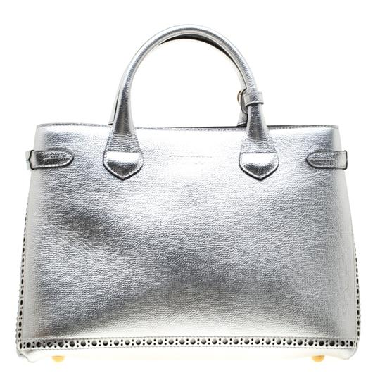 Burberry Leather Canvas Tote in Silver Image 1