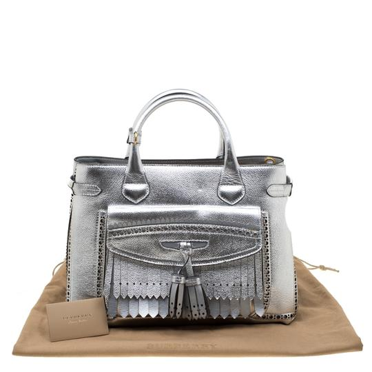 Burberry Leather Canvas Tote in Silver Image 11