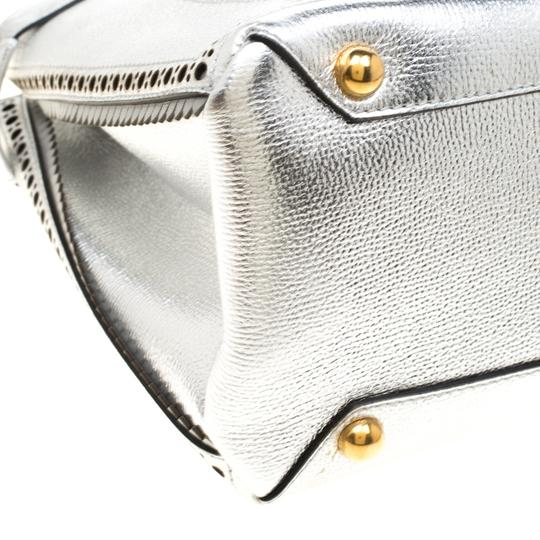 Burberry Leather Canvas Tote in Silver Image 7