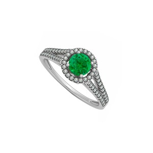 Marco B Natural Emerald and Diamonds Halo Split Shank Engagement Ring 14K Whit