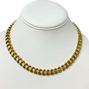 Other 14k Yellow Gold 36g Fancy Link Wave Design Chain Necklace Italy 17