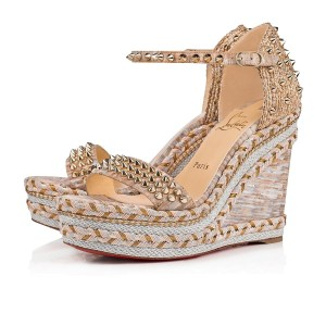 Christian Louboutin Pigalle Stiletto Classic Galeria Studded beige Wedges