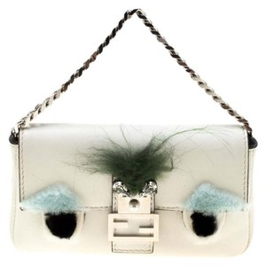Fendi Suede Leather White Clutch