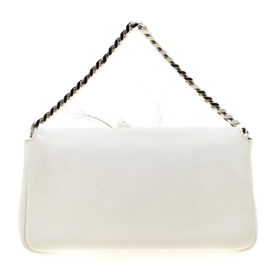 Fendi Suede Leather White Clutch Image 1
