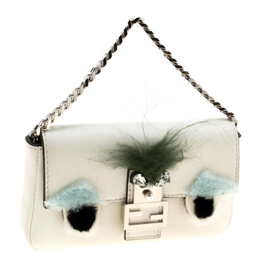 Fendi Suede Leather White Clutch Image 3