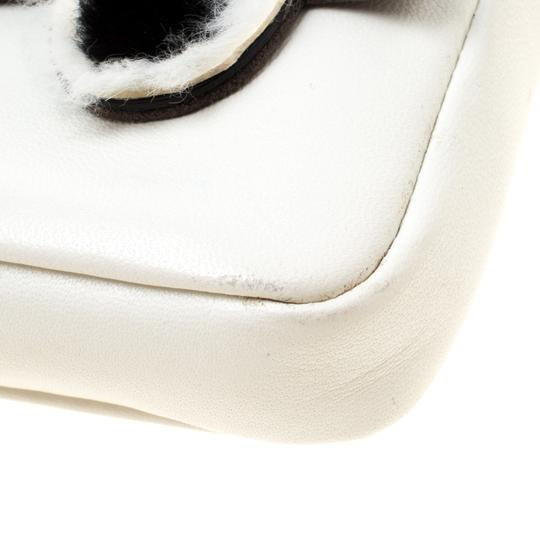 Fendi Suede Leather White Clutch Image 6