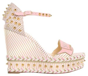 Christian Louboutin Pigalle Stiletto Classic Galeria Studded white Wedges