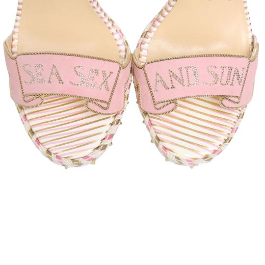 Christian Louboutin Pigalle Stiletto Classic Galeria Studded white Wedges Image 5