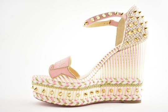 Christian Louboutin Pigalle Stiletto Classic Galeria Studded white Wedges Image 8