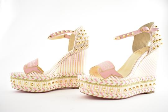 Christian Louboutin Pigalle Stiletto Classic Galeria Studded white Wedges Image 9