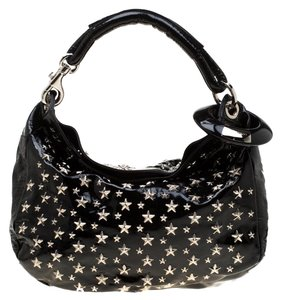 Jimmy Choo Patent Leather Suede Studded Hobo Bag