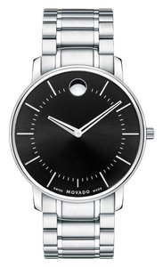 Movado Movado Men's Thin Classic Black Dial Stainless Steel Watch 0606687