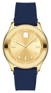Movado Movado Women's Bold Gold Dial Blue Silicone Watch 3600413