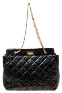 Chanel Leather Fabric Quilted Tote in Black