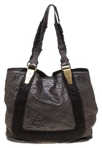 Chloe Leather Fabric Pebbled Tote in Grey