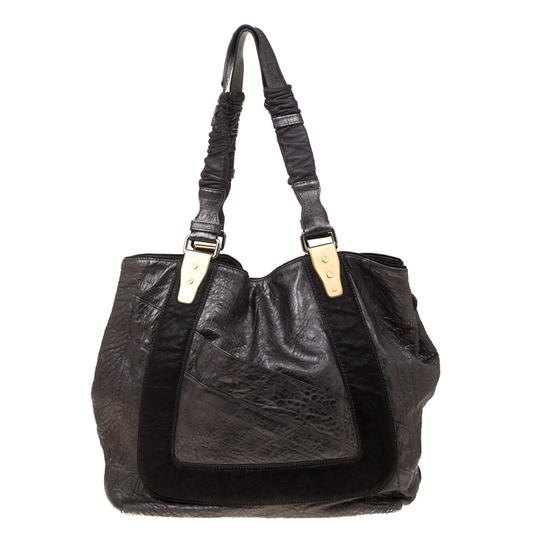 Chloe Leather Fabric Pebbled Tote in Grey Image 1