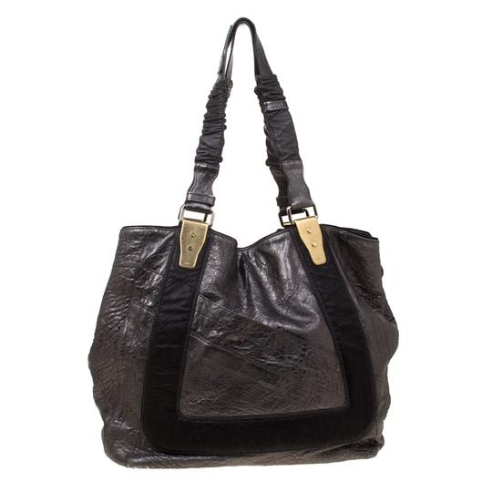 Chloe Leather Fabric Pebbled Tote in Grey Image 4