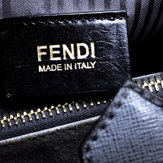 Fendi Leather Fabric Tote in Grey Image 10