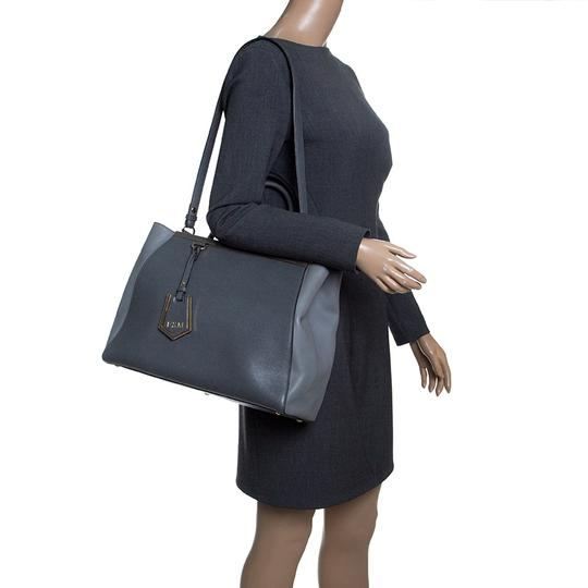 Fendi Leather Fabric Tote in Grey Image 2