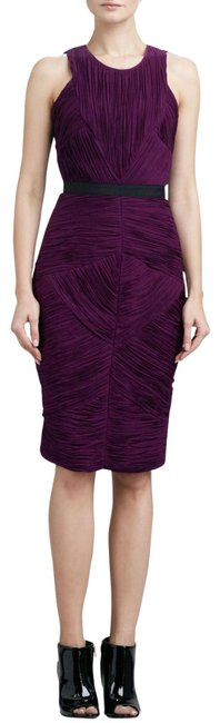 Item - Purple London Gathered Sheath Deep Mid-length Cocktail Dress Size 8 (M)