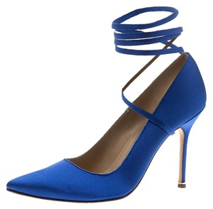 Vetements + Manolo Blahnik Satin Pointed Toe Leather Blue Pumps