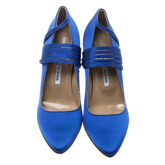 Vetements + Manolo Blahnik Satin Pointed Toe Leather Blue Pumps Image 1
