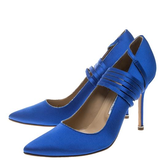 Vetements + Manolo Blahnik Satin Pointed Toe Leather Blue Pumps Image 3