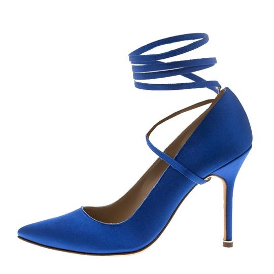 Vetements + Manolo Blahnik Satin Pointed Toe Leather Blue Pumps Image 4