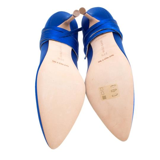 Vetements + Manolo Blahnik Satin Pointed Toe Leather Blue Pumps Image 5