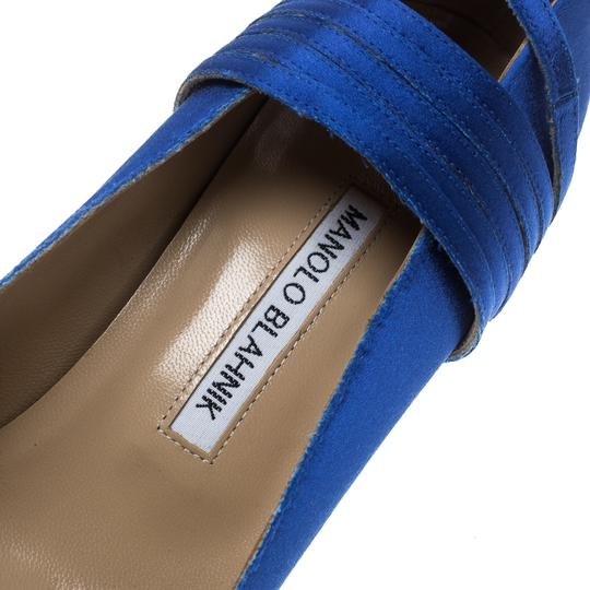Vetements + Manolo Blahnik Satin Pointed Toe Leather Blue Pumps Image 6