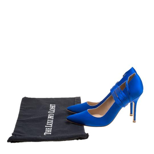 Vetements + Manolo Blahnik Satin Pointed Toe Leather Blue Pumps Image 7