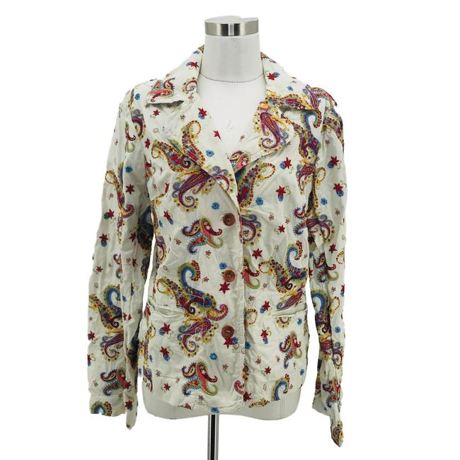 Item - White Pink Large 14 Paisley Embroidery Jacket Size 12 (L)