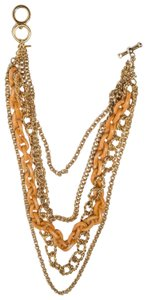 Kenneth Jay Lane Kenneth Lane 14k Gold Plated Chain and Orange Plastic Multi Strand Nec