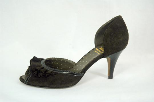 Moschino D'orsay Peep Toe Suede Brown Pumps Image 2